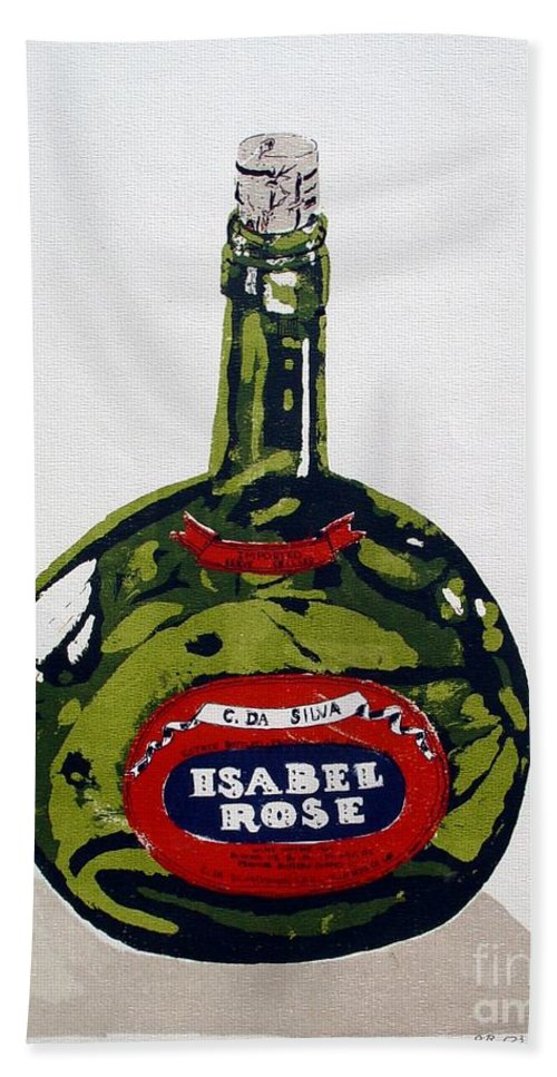 Silk Screen Bath Towel featuring the mixed media Wine Bottle by Ron Bissett