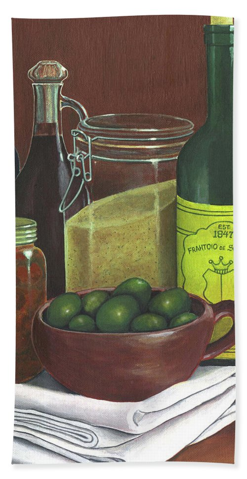 Wine Bath Sheet featuring the painting Wine Bottles And Jars by Joseph Schilling