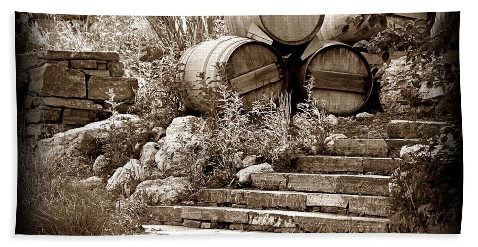 Napa Bath Sheet featuring the photograph Wine Country Sepia Vignette by David Ross