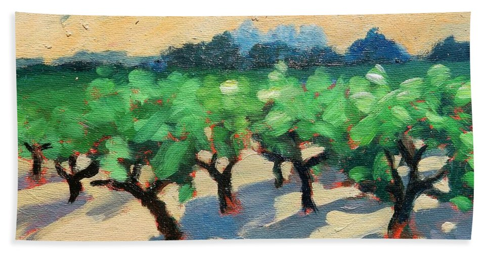 Vineyard Hand Towel featuring the painting Wine Habitat by Gary Coleman