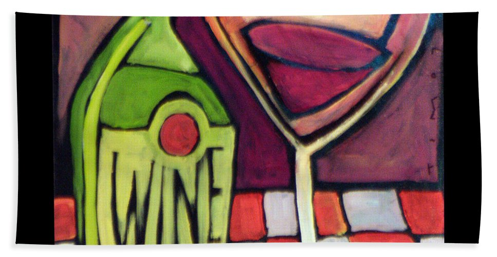 Wine Bath Towel featuring the painting Wine Squared by Tim Nyberg