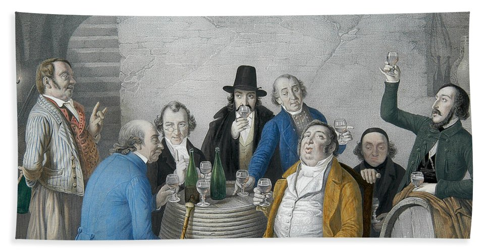 German Art Hand Towel featuring the relief Wine Tasters In A Cellar by Johann Peter Hasenclever