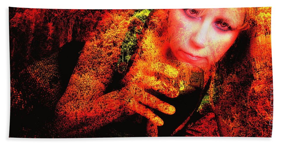 Clay Hand Towel featuring the photograph Wine Woman and Fall Colors by Clayton Bruster