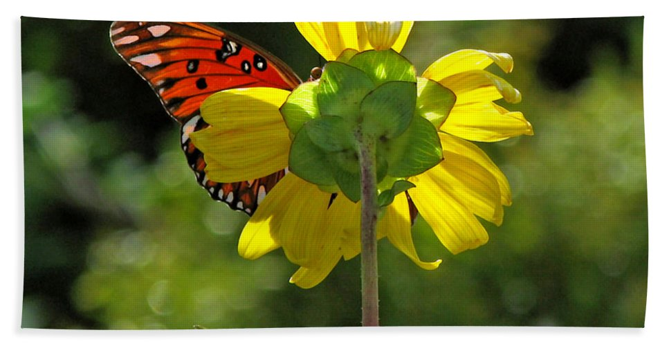 Nature Bath Sheet featuring the photograph Wing Flower by Peg Urban