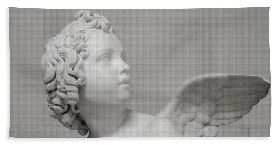 Sculpture Hand Towel featuring the photograph Winged Cherub by Shanna Hyatt