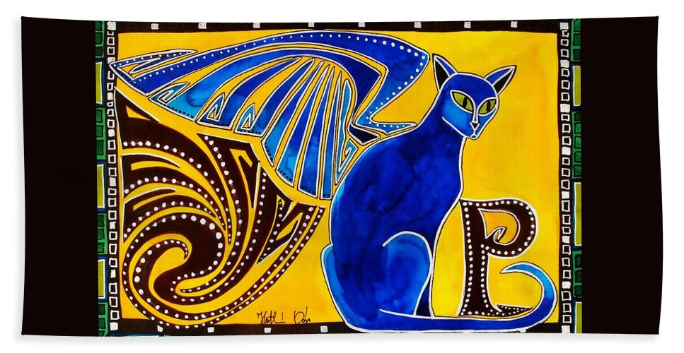 Cat Art Bath Towel featuring the painting Winged Feline - Cat Art with letter P by Dora Hathazi Mendes by Dora Hathazi Mendes