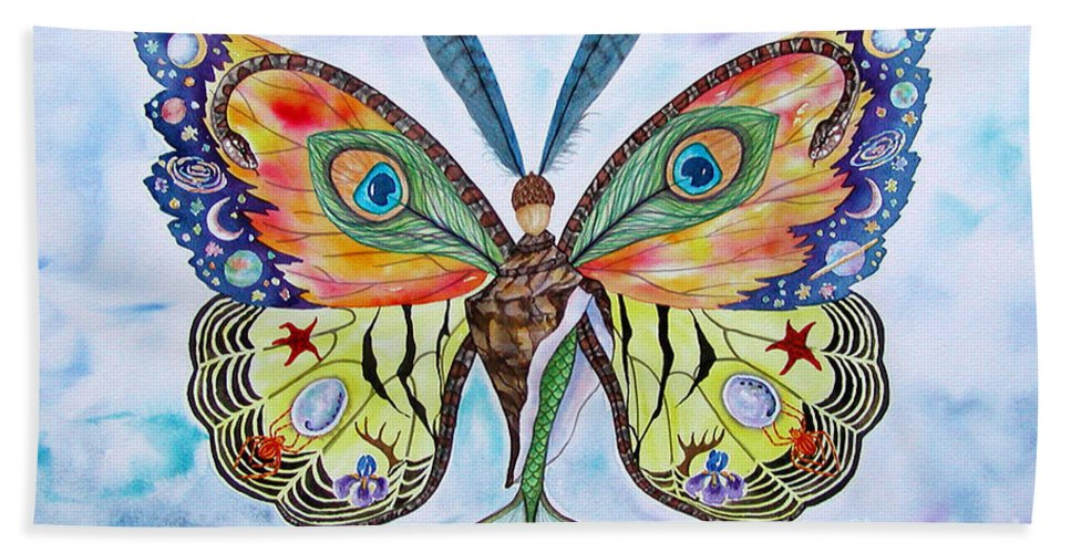 Butterfly Bath Sheet featuring the painting Winged Metamorphosis by Lucy Arnold