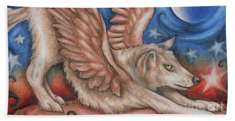 Wolf Angel Hand Towel featuring the drawing Winged Wolf In Downward Dog Yoga Pose by Kristin Aquariann