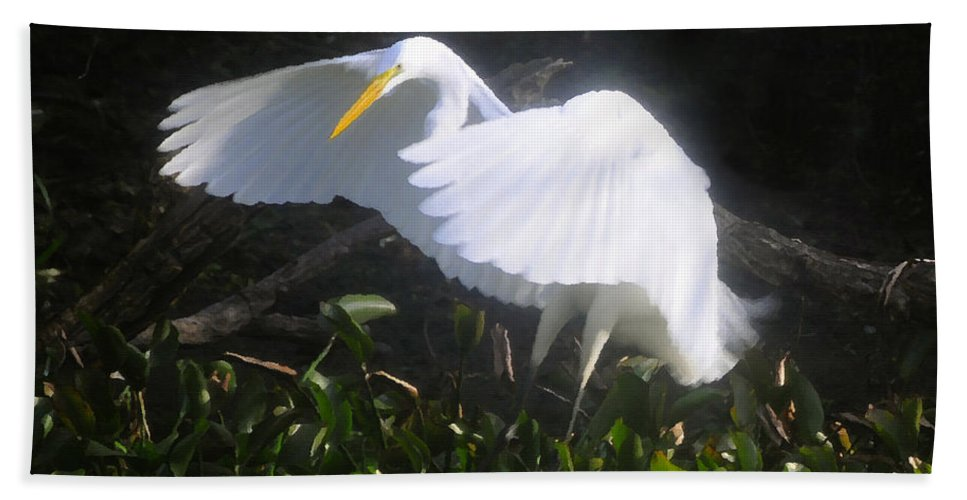 Great White Egret Bath Sheet featuring the painting Wings Of An Angel by David Lee Thompson