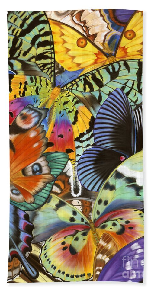 Butterflies Bath Towel featuring the painting Wings of the world by Lucy Arnold