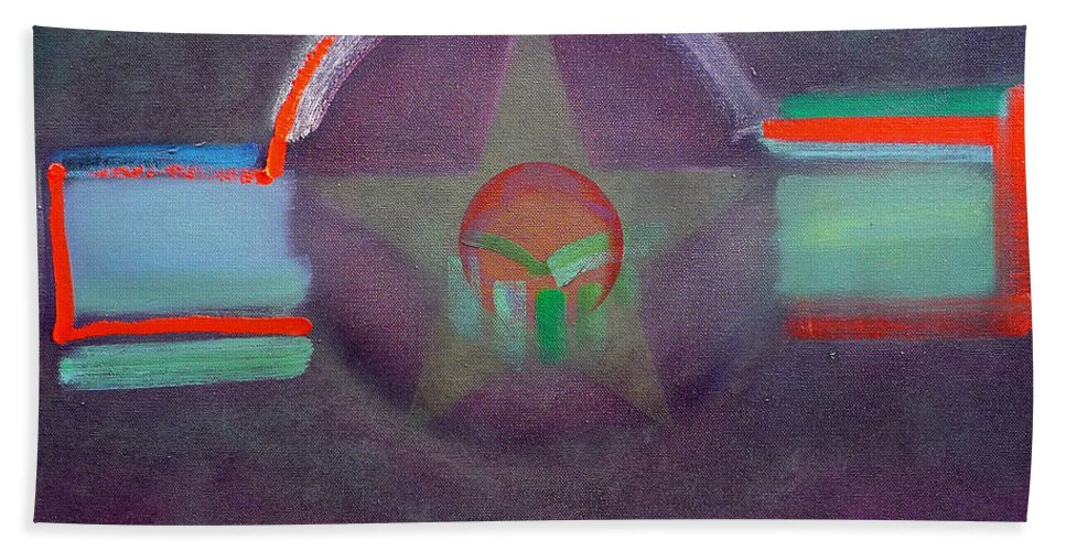 Star Bath Towel featuring the painting Wings Vermillion  by Charles Stuart