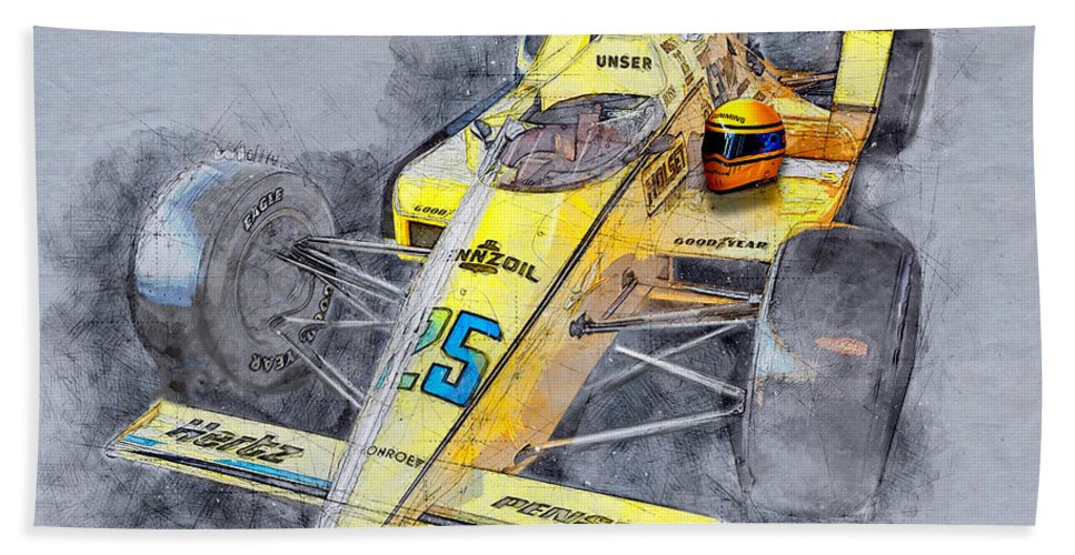 Racing Hand Towel featuring the mixed media Winner 71st Indy Al Unser by David Wagner