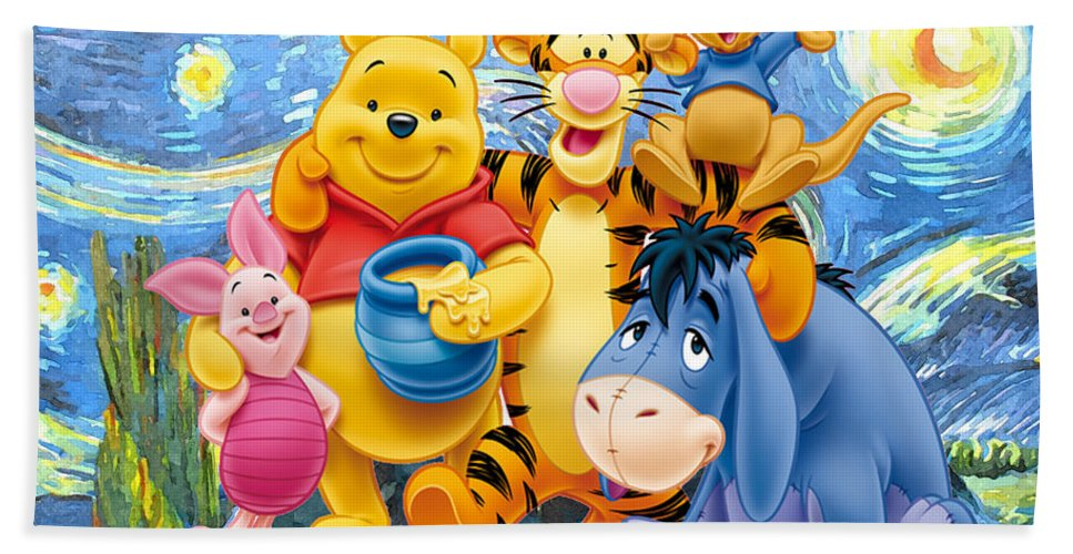 Winnie The Pooh Starry Night Bath Towel featuring the digital art Winnie the Pooh Starry Night by Midex Planet