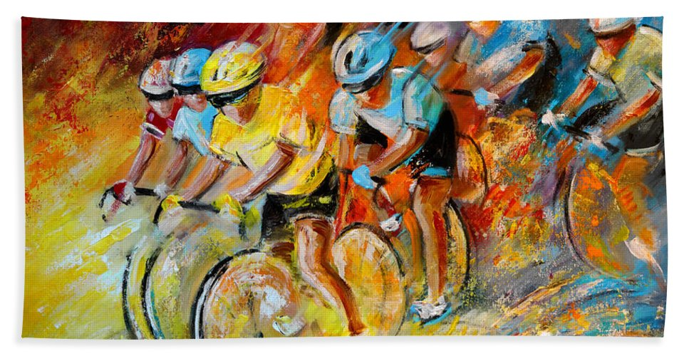 Sports Hand Towel featuring the painting Winning The Tour De France by Miki De Goodaboom
