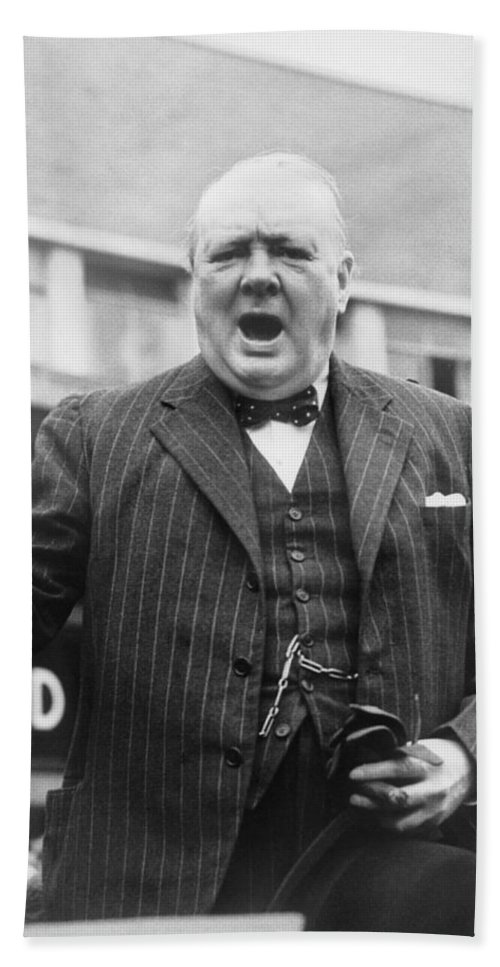 Churchill Bath Towel featuring the photograph Winston Churchill Campaigning - 1945 by War Is Hell Store
