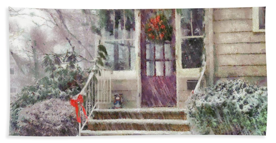 Savad Bath Sheet featuring the photograph Winter - Christmas - Silent Day by Mike Savad