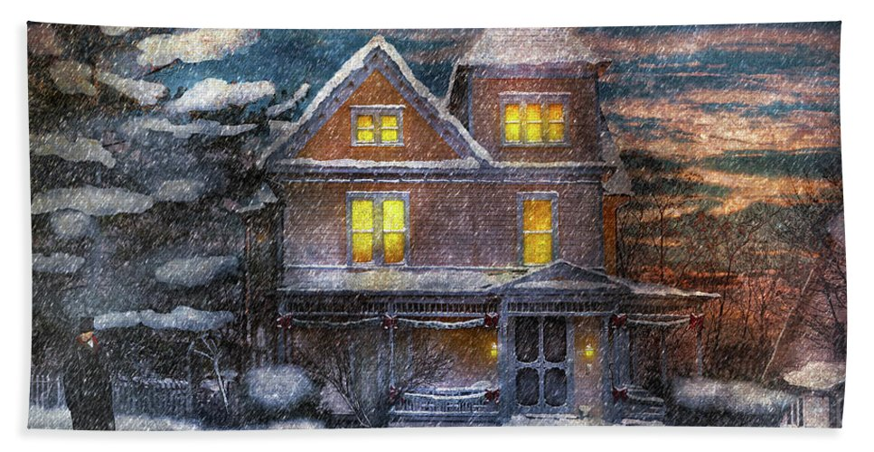 Hdr Bath Sheet featuring the photograph Winter - Clinton Nj - A Victorian Christmas by Mike Savad