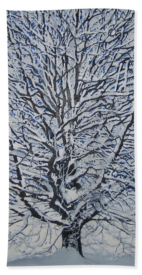 Winter Hand Towel featuring the painting Winter '05 by Leah Tomaino
