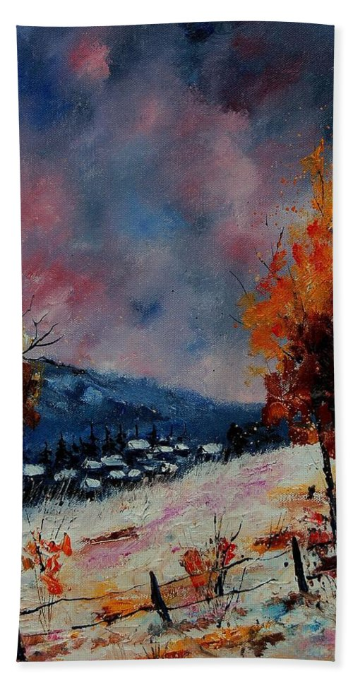 Winter Hand Towel featuring the painting Winter 560110 by Pol Ledent