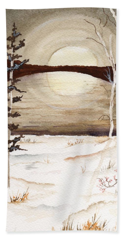 Watercolor Bath Towel featuring the painting Winter Apex by Brenda Owen