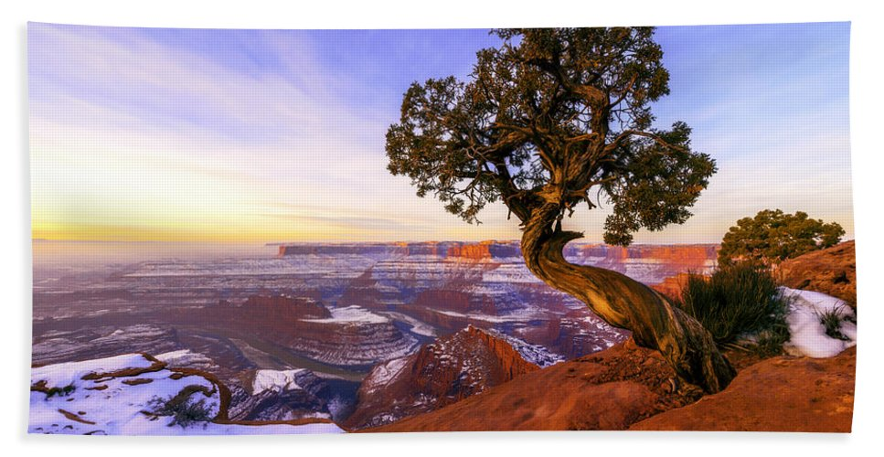 Winter At Dead Horse Hand Towel featuring the photograph Winter At Dead Horse by Chad Dutson
