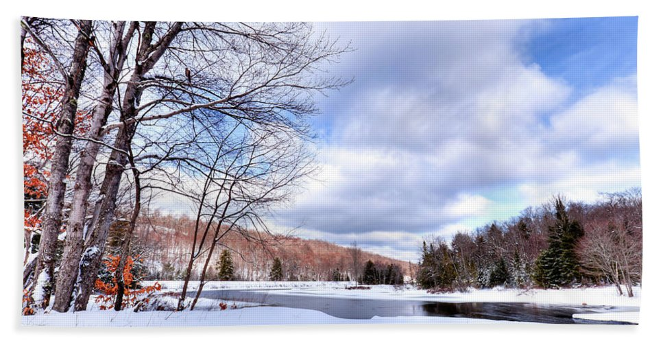 Landscapes Hand Towel featuring the photograph Winter At The Dam by David Patterson