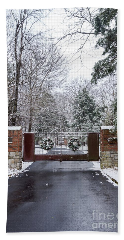 America Hand Towel featuring the photograph Winter At The Gate by Jennifer White