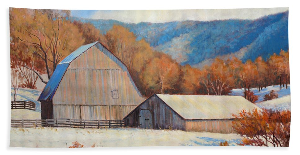Impressionism Bath Sheet featuring the painting Winter Barns by Keith Burgess