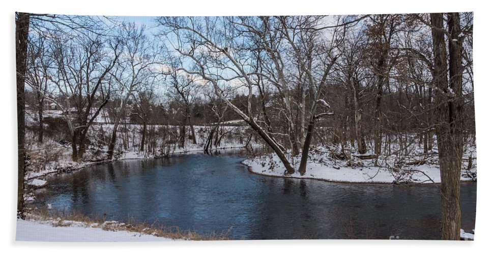 America Bath Sheet featuring the photograph Winter Blue James River by Jennifer White