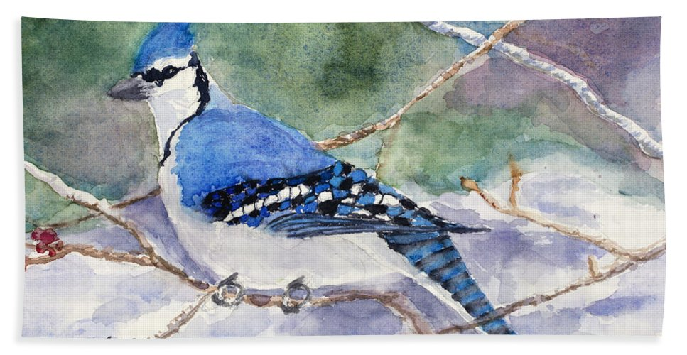 Blue Jay Hand Towel featuring the painting Winter Blues by Mary Benke