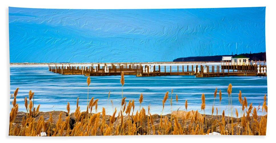 Port Austin Hand Towel featuring the painting Winter Blues by Michael Tucker