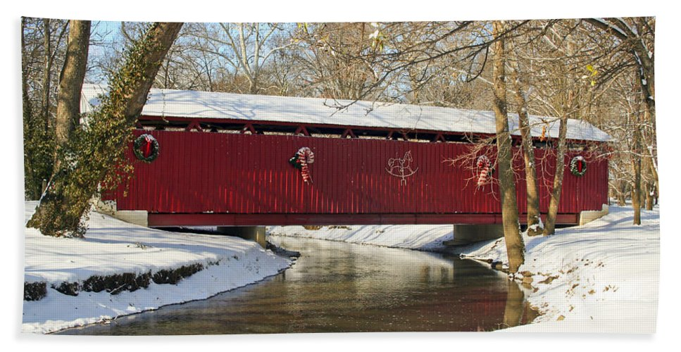 Covered Bridge Hand Towel featuring the photograph Winter Bridge by Margie Wildblood