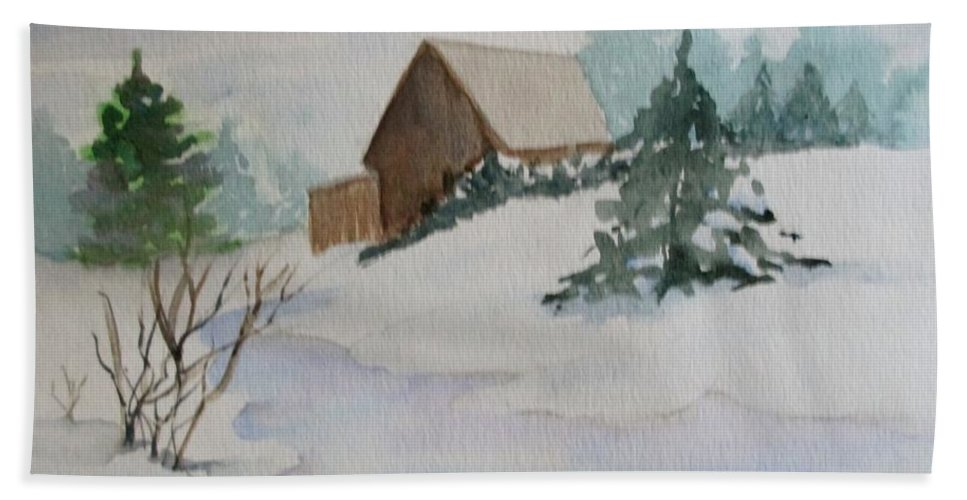 Winter Hand Towel featuring the painting Winter Cabin by Katherine Berlin