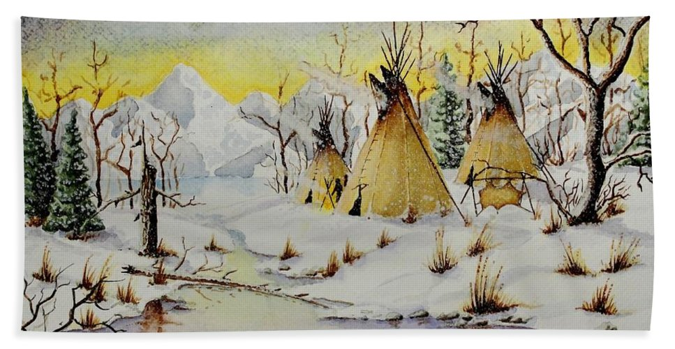 American Bath Sheet featuring the painting Winter Camp by Jimmy Smith