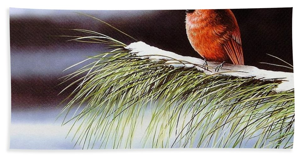 Cardinal Bath Sheet featuring the painting Winter Cardinal by Anthony J Padgett
