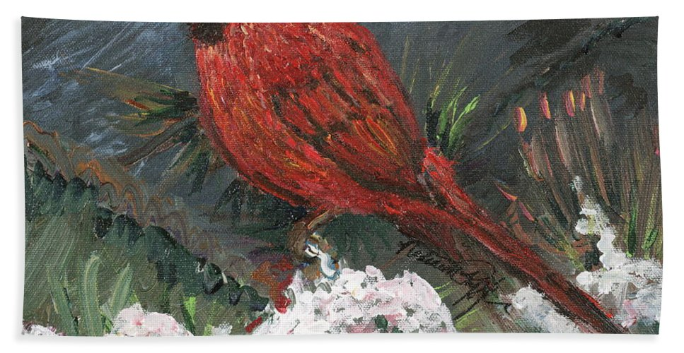 Bird Bath Towel featuring the painting Winter Cardinal by Nadine Rippelmeyer