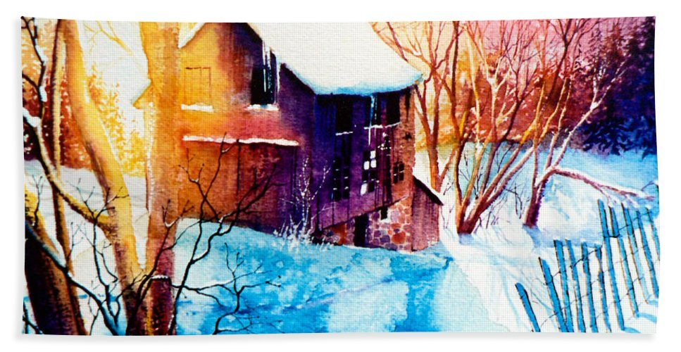 Winter Color Painting Hand Towel featuring the painting Winter Color by Hanne Lore Koehler