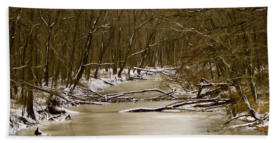 Creek Bath Sheet featuring the photograph Winter Creek by Bonnie Willis