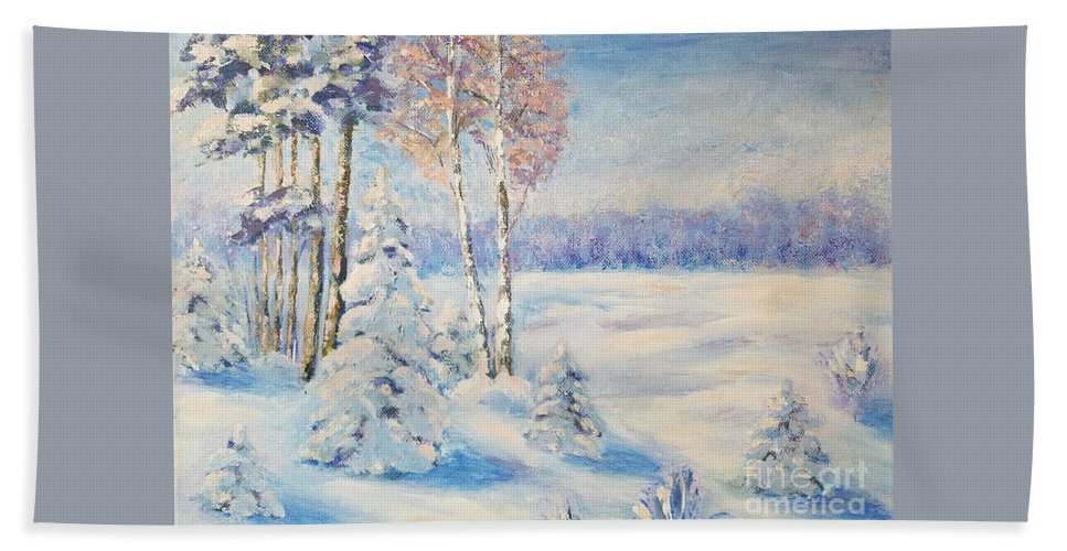 Winter Landscape Hand Towel featuring the painting Winter Day In The Forest by Olga Malamud-Pavlovich
