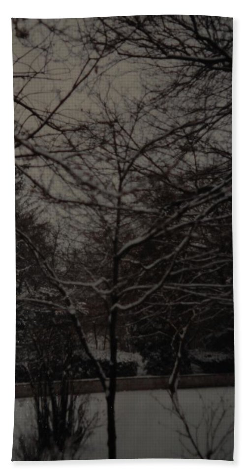 Lights Hand Towel featuring the photograph Winter Dusk by Rob Hans