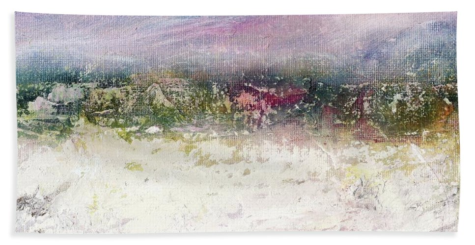 Winter Farm Hand Towel featuring the painting Winter Farm by Janet Gunderson