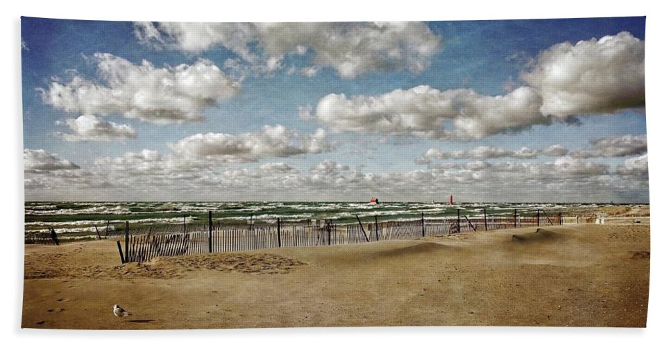 Grand Haven Bath Sheet featuring the photograph Winter Fences In Grand Haven 3.0 by Michelle Calkins