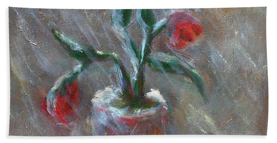 Katt Yanda Original Art Landscape Floral Oil Painting Canvas Flowers Snow Snowflakes Pot Vase Red Petals Wilted Leaves Hand Towel featuring the painting Winter Flowers by Katt Yanda