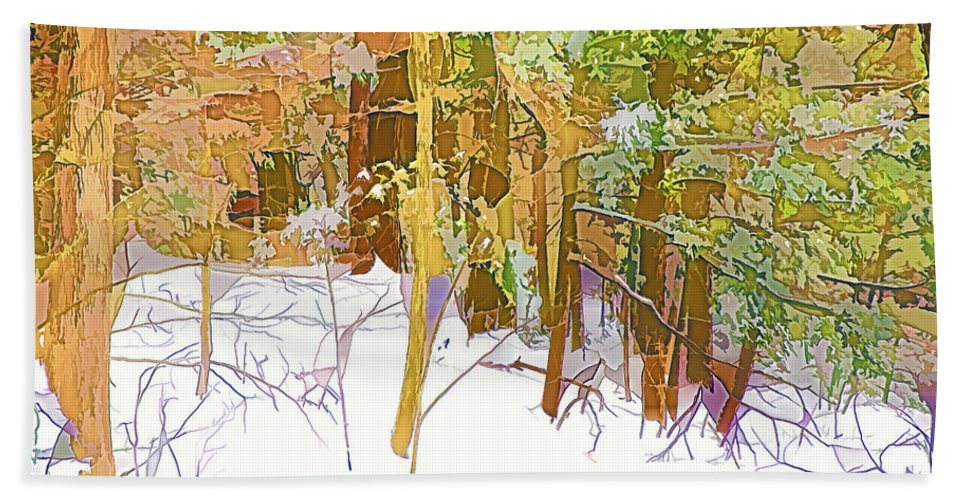 Bare Hand Towel featuring the painting Winter Forest 1 by Jeelan Clark