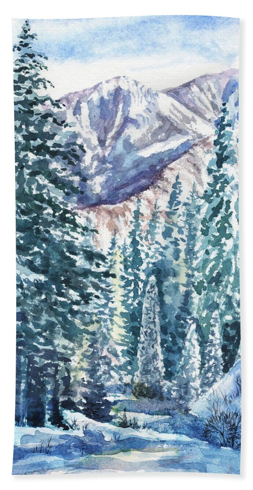 Winter Forest Hand Towel featuring the painting Winter Forest And Mountains by Irina Sztukowski