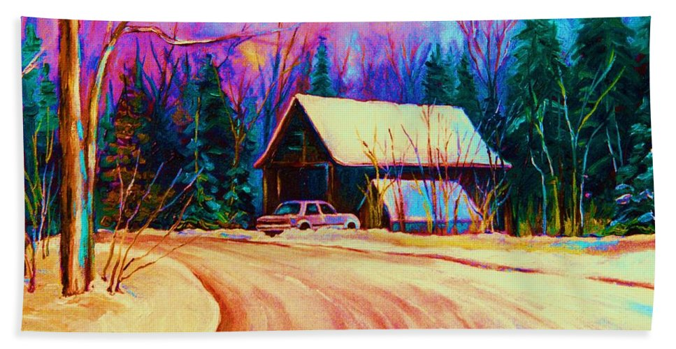 Landscape Hand Towel featuring the painting Winter Getaway by Carole Spandau