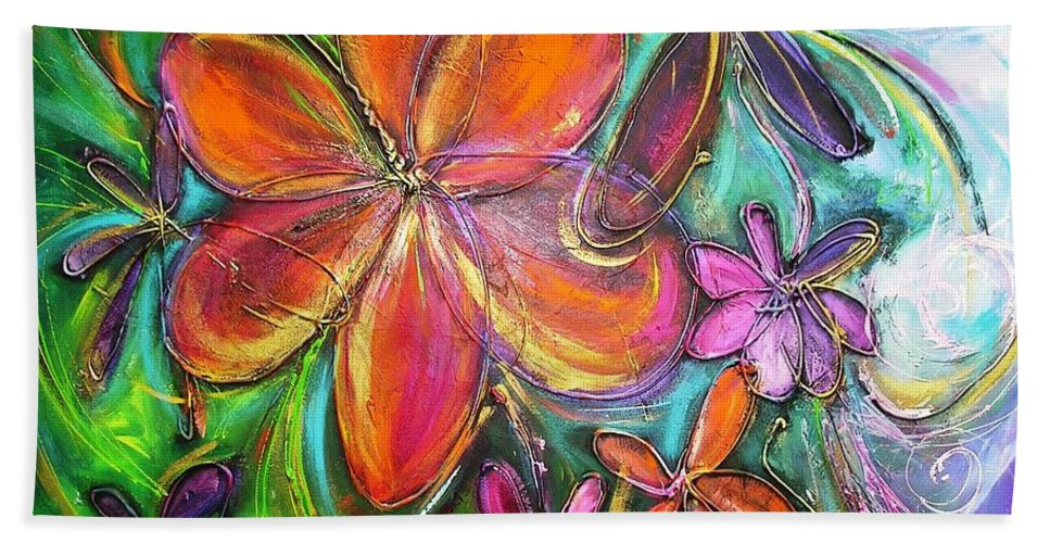 Flower Bath Sheet featuring the painting Winter Glow Flower Painting by Chris Hobel