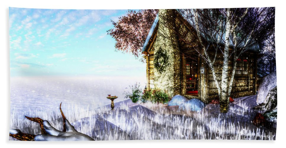 Nature Hand Towel featuring the digital art Winter Home by Alina Davis