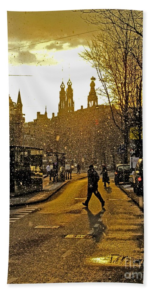 Amsterdam Hand Towel featuring the photograph Winter In Amsterdam-1 by Casper Cammeraat