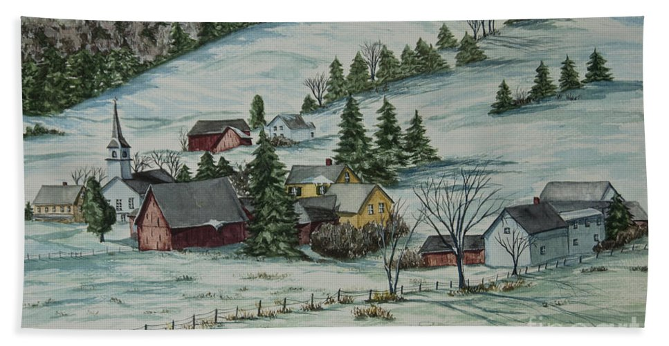 Winter Scene Paintings Hand Towel featuring the painting Winter In East Chatham Vermont by Charlotte Blanchard